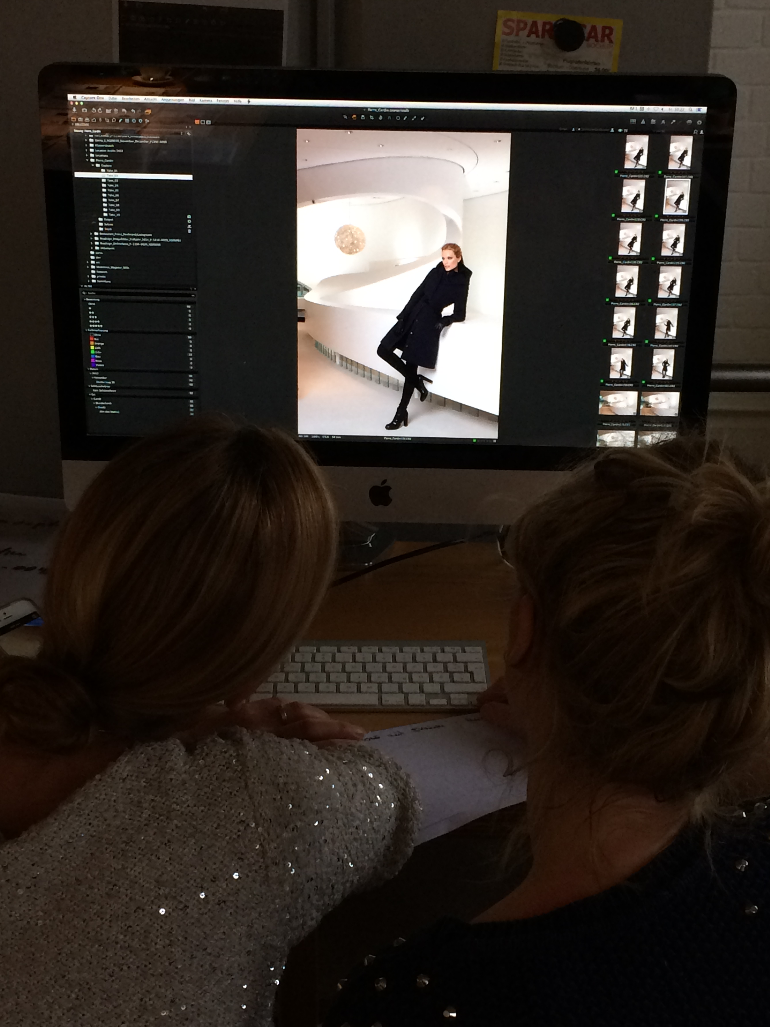 """Dusseldorf, Germany. On Pierre Cardin Winter campaign set. The client and the art director choosing the best shot. """