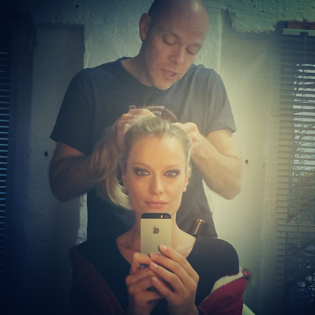 """James making me beautiful on set for the new Pierre Cardin Winter Campaign."""