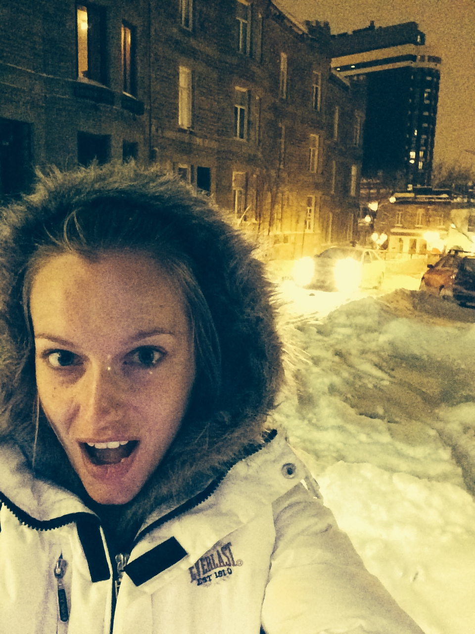 """Renata Zanchi freezing at -22 in Montreal, Canada. """